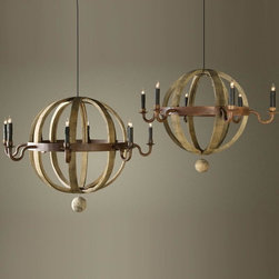 BoBo Intriguing Objects - BoBo Intriguing Objects Wine Barrel Planet Chandelier - Reclaimed French Oak wine barrel staves and hoops with a waxed rust finish lend the natural feel to these unique chandeliers from BoBo Intriguing Objects. Available in two sizes, these Wine Barrel Planet Chandeliers are sure to become a instant favorite!**NOTE: BoBo Intriguing Objects Chandeliers and Pendants are imported and DO NOT INCLUDE a canopy or chain.**Please note that items from BoBo Intriguing Objects are imported from Europe and the time it takes to receive these Intriguing Objects will vary. Should you have any questions regarding a timeline for these, or any of our products, please call our friendly staff at 1-800-440-5121.