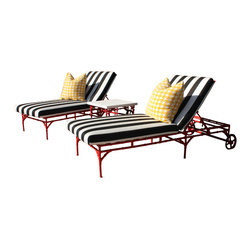 Michael Taylor Bamboo Chaise - Michael Taylor metal bamboo chairs lounge chairs look awesome sitting around in your backyard! It can be purchased through www.jamieshop.com at designer wholesale pricing!