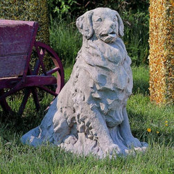 Campania International - Golden Retriever Garden Statue - A-227-GS - Shop for Sculptures Statues and Figurines from Hayneedle.com! There's no pal quite like a Golden Retriever and this one is truly adorable. The Golden Retriever statue will surely be your best pal forever. Carved magnificently in an alert pose this retriever is ready for a rousing game of fetch or a brisk walk. Carefully carved detail in the coat makes this Retriever truly realistic up close. His upright stance open mouth and flopping tongue will make you smile and welcome you home from a long day. The durable cast stone construction will stand up well to the harshest elements and offer years of enjoyment. Place the Golden Retriever in the garden on the patio or beside the front door to greet your visitors. Wherever you put him he's sure to remind you of why man's best friend is wonderful to have around.About Campania InternationalEstablished in 1984 Campania International's reputation has been built on quality original products and service. Originally selling terra cotta planters Campania soon began to research and develop the design and manufacture of cast stone garden planters and ornaments. Campania is also an importer and wholesaler of garden products including polyethylene terra cotta glazed pottery cast iron and fiberglass planters as well as classic garden structures fountains and cast resin statuary.Campania Cast Stone: The ProcessThe creation of Campania's cast stone pieces begins and ends by hand. From the creation of an original design making of a mold pouring the cast stone application of the patina to the final packing of an order the process is both technical and artistic. As many as 30 pairs of hands are involved in the creation of each Campania piece in a labor intensive 15 step process.The process begins either with the creation of an original copyrighted design by Campania's artisans or an antique original. Antique originals will often require some restoration work which is also d
