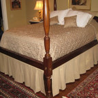 Bedding - Custom Tan denim box pleated dust ruffle w/self cording, vecro attachment to bed frame. Custom quilted bed spread with cotton lining and pillow tuck. Custom Tan denim standard flange shams. Custom 14x14 throw pillows w/self cording.