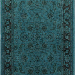"Karastan - Karastan Esperanza 621-90051 (Teal) 8'8"" x 10' Rug - Classic Karastan Axminster designs bathed in rich pigmented dyes in vibrant shades of orange, apple green, sea blue and amethyst create a modern twist on timeless patterns. The Esperanza collection of rugs are made of durable and renewable New Zealand wool, woven in the U.S., and are able to withstand the most challenging demands of today's lifestyles."