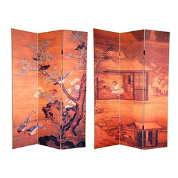 Oriental Furniture - 6 ft. Tall Double Sided Chinese Landscapes Canvas Room Divider - Two 19th century Chinese art reproduction images bring this beautiful canvas room divider to life. The front is from a silk screen painting that depicts a blooming plum blossom tree on which a variety of birds are perched. On the back is simple, elegant tea garden scene, bathed in warm tans, beiges, and browns. Use this historical Asian art floor screen to bring a refined eastern sensibility to your living room, bedroom, dining room, kitchen, home office or place of work. This three panel screen has different images on each side, as shown.