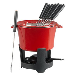 Cast Iron Fondue Set - Is there a food more related to Valentine's Day than fondue? Well, maybe chocolate-covered strawberries, but fondue comes in at a close second. Dice up a variety of fruits, marshmallows and cookies for your guests to dip away in hot bowl of ooey-gooey melted chocolate.