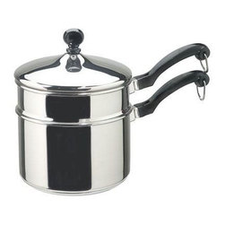 "Farberware Cookware - Farberware Classic Stainless Steel 2 Qt. Saucepan with Double Boiler - Farberware Classic Series 2 qt. Covered Saucepan with Double Boiler Insert.Candy makers love this double boiler. Non-reactive Stainless Steel allows you to whisk or stir in this 2-qt. size. The ""full cap"" base has an aluminum core for even heating, and the Stainless Steel body offers lasting beauty. ""Full Cap"" Base Advantage - Now a Stainless Steel protector surrounds a thicker aluminum core for easy maintenance and better heat distribution. Since the entire surface is Stainless Steel, cleanup is easier. Enjoy a lifetime of beauty.  Close fitting lids create a self-basting feature that protects the food's taste and nutrients. Classically styled phenolic handles are oven safe up to 350 degrees F/180 degrees C.  Durable Stainless Steel construction - dishwasher safe.  Thicker, rolled pan rims for extra durability, enhanced drip-free pouring and easy handling."