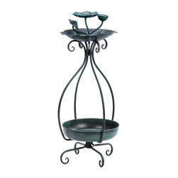 KOOLEKOO - Metal Birdfeeder Planter Combo - Give your feathered friends a feast and give your favorite potted plant a pretty place to sit! This is the perfect dual-purpose accessory for your patio, deck or garden.