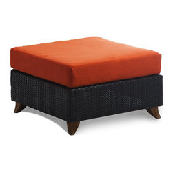 All Things Cedar - All Things Cedar PR25 Rattan Deep Seating Ottoman, Orange - Comes with lined and zippered Deep Seat Cushion - available in 6 colors. Cushions made of weather resistant polyester fabric and 5.5 inches of high density foam. Heavy-gauge aluminum tube frame - no rust. Welded aluminum joints are ground and polished. UV inhibitors repel the damaging effects of the sun & harsh weather - maintanence free. Wicker strapping is synthetic resin and hand wrapped for a natural, softer feel.     Color:  deep brown/black webbing w/ solid teak legs   Dimensions:  Dimensions: 27 x 27 x 17 in. (w x d x h)