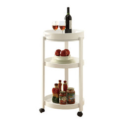 Monarch Specialties - Monarch Specialties 3345 Round Bar Cart with Serving Tray on Castors in White - Add an unparalleled appeal to you bar area with this modern styled bar cart. It features clean edges, straight legs, and a rich solid-wood white finish that add a bold element to your area. Its black casters make it easy to move the cart from room to room or serve your guests! three spacious shelves offer plenty of space, ideal for making drinks and storing your bar accessories, making this piece appropriate for both casual and formal dining occasions.