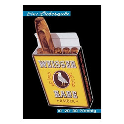 """Buyenlarge.com, Inc. - Weisser Rabe Cigars- Fine Art Giclee Print 24"""" x 36"""" - Another high quality vintage art reproduction by Buyenlarge. One of many rare and wonderful images brought forward in time. I hope they bring you pleasure each and every time you look at them."""