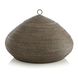 Tikka Round Lidded Basket - Oversized rattan basket assumes a striking teardrop shape to load up on storage with a petite lid to maintains its alluring silhouette.