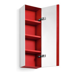 WS Bath Collections - Ciacole Red Mirrored Cabinet - Ciacole 8050.11 Wall-Mounted Cabinet with Mirrored Door in Red, Made of Mattstone Sides Panelled with Red Painted Aluminum, Wall-Mounted Installation, Made in Italy