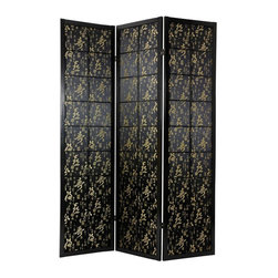 Oriental Unlimited - 6 ft. Tall Feng Shui w Black Fabric Shoji in Black Finish (3 Panels) - Choose No. of Panels: 3 PanelsJapanese motifs and gold calligraphy enrich the satin fabric panels of this stunning multi panel privacy screen, believed to bring good fortune.  As a decorative accent or as a stylish room divider, this Feng Shui inspired Shoji screen surpasses expectations. Offering privacy to both sides, this Asian screen makes a marvelous addition to modern spaces. One of our 2 beautiful Feng Shui room dividers. Black fabric and gold calligraphy print for good fortune. The fine satin fabric is opaque. So very little light comes through. Provides complete privacy. Display as an art screen or use to define space. Crafted from durable and lightweight Scandinavian Spruce. Panels are constructed using Asian style mortise and tenon joinery. Lacquered brass, 2-way hinges mean you can bend the panels in either direction. Black finish. Assembly required. Each panel: approximately 17.5 in. L x .75 in. W x 72 in. H. 3 Panel screen: approximately 53 in. wide flat, approximately 45 in. wide with panels folded to stand upright (as shown)