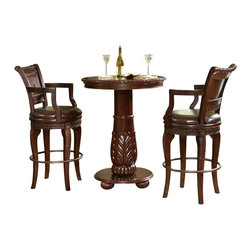 Steve Silver Furniture - Steve Silver Antoinette 3-Piece Pub Table Set - This pub table set is the epitome of elegance. Both the table and the two swivel chairs have an heirloom feel to them, and while they are certainly classic, that doesn't mean that you couldn't employ them in a more up-to-date setting where you want a sophisticated look.