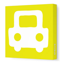 "Avalisa - Things That Go - Auto Stretched Wall Art, 12"" x 12"", Yellow - Honk if you love art! The sleek look of stretched canvas with a cool car graphic is a style statement that tells the world you're really going places."