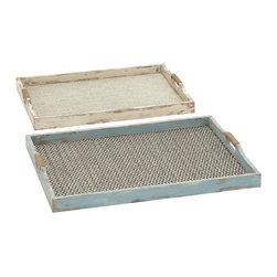 Benzara - Elegant Style Patterned Wood Fabric Tray Set of 2 Home Decor - Description:
