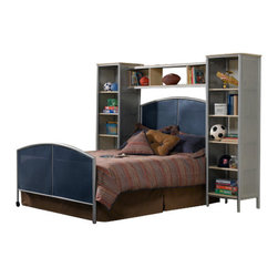 Hillsdale Furniture - Hillsdale Universal Mesh Wall Storage Bed - Full - The silver and navy Universal Youth bedroom offers super solutions for any kids room, whether you choose the traditional bed, the bookcase headboard with under bed storage, the loft bed or bunk beds. Add any combination of case goods to create the perfect home base for your child, tween or teen.