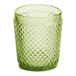 Rosanna - Rosanna Pressed Glass Double Old-Fashioned Green Glasses, Set of 4 -