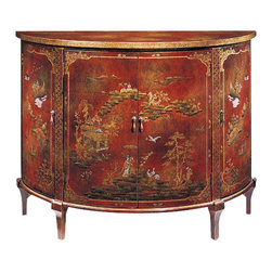"""Inviting Home - Demilune Chinoiserie Cabinet - Hand-painted demilune cabinet with Chinoiserie design on an antiqued crackled red background four curved doors one shelf inside and antiqued brass hardware; 48""""W x 20""""D x 36-1/4""""H Hand-crafted Chinoiserie demilune cabinet. Demilune cabinet is hand-painted Chinoiserie design on an antiqued crackled red background. Hand painted cabinet has four curved doors with antiqued brass hardware and one shelf inside."""