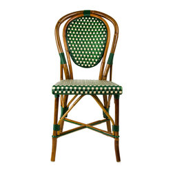 Green & Cream Mediterranean Bistro Chair - These rattan-framed stools are part of the iconic French bistros of Le Midi, or the south of France. Hand-woven and artisan crafted, these French style bistro bar stools in bright synthetic material, will add a pop of color to your outdoor or indoor space.