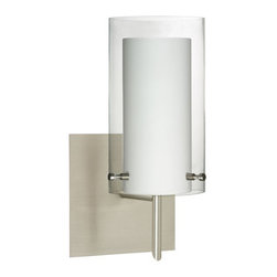 Besa Lighting - Pahu Satin Nickel One-Light Halogen Square Canopy Wall Sconce with Clear and Opa - - The clear blown glass complements the soft white Opal cased glass, which can suit any classic or modern decor. Opal has a very tranquil glow that is pleasing in appearance, as the clear glass sparkles with the accents from that glow. The smooth satin finish on the opal?s outer layer is a result of an extensive etching process. This blown glass combination is handcrafted by a skilled artisan, utilizing century-old techniques passed down from generation to generation.  - Bulbs Included  - Shade Ht (In): 7  - Shade Wd/Dia (In): 4  - Canopy/Fitter Ht (In): 5  - Canopy/Fitter Dia/Wd (In): 5  - Title XXIV compliant  - Primary Metal Composition: Steel  - Shade Material: Glass  - NOTICE: Due to the artistic nature of art glass, each piece is uniquely beautiful and may all differ slightly if ordering in multiples. Some glass decors may have a different appearance when illuminated. Many of our glasses are handmade and will have variances in their decors. Color, patterning, air bubbles and vibrancy of the d�cor may also appear differently when the fixture is lit and unlit. Besa Lighting - 1SW-C44007-SN-SQ