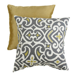 Decorative Gray and Yellow Damask 16.5-Inch Square Toss Pillow