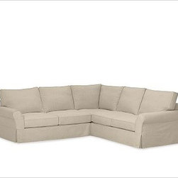 """PB Comfort 3-Piece L Shaped Sectional Slipcovers, Twill Parchment - Designed exclusively for our PB Comfort Sectional, these soft, inviting slipcovers retain their smooth fit and remove easily for cleaning. Left 3-Piece Sectional with Box Cushions shown. Select """"Living Room"""" in our {{link path='http://potterybarn.icovia.com/icovia.aspx' class='popup' width='900' height='700'}}Room Planner{{/link}} to select a configuration that's ideal for your space. This item can also be customized with your choice of over {{link path='pages/popups/fab_leather_popup.html' class='popup' width='720' height='800'}}80 custom fabrics and colors{{/link}}. For details and pricing on custom fabrics, please call us at 1.800.840.3658 or click Live Help. All slipcover fabrics are hand selected for softness, quality and durability. Left-arm configuration is shown; also available in right-arm configuration. {{link path='pages/popups/sectionalsheet.html' class='popup' width='720' height='800'}}Left-arm or right-arm configuration{{/link}} is determined by the location of the arm on the love seat as you face the piece. This is a special-order item and ships directly from the manufacturer. To see fabrics available for Quick Ship and to view our order and return policy, click on the Shipping Info tab above. Watch a video about our exclusive {{link path='/stylehouse/videos/videos/pbq_v36_rel.html?cm_sp=Video_PIP-_-PBQUALITY-_-SUTTER_STREET' class='popup' width='950' height='300'}}North Carolina Furniture Workshop{{/link}}."""