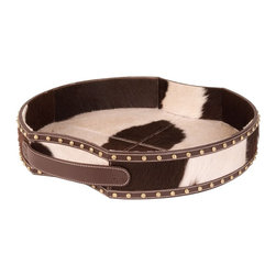 Lazy Susan - Lazy Susan 173028 Holstein Faux Pony Tray - Holy cow — this faux pony tray is darn cute. Handmade from rich brown and white cowhide, it features two leather handles and decorative studs. Use it to serve up some cowboy fare or decorate your table.