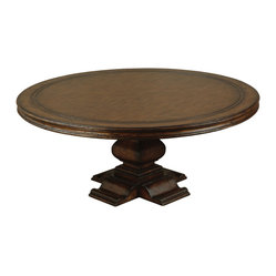 Ambella Home - Aspen Round Dining Table - A beautiful circular dining table makes a welcoming place to share meals, conversations and memories. The rich look of an oak veneer top will complement your home effortlessly. Simply set the table and invite your loved ones over for a shared experience they won't soon forget.