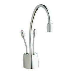 "InSinkErator - InSinkErator F-HC1100C Chrome Indulge Instant Hot Water Dispenser - Product Features:  Fully covered under Insinkerator s 5-year in-home service warranty All-brass faucet body and handle construction For use in hot and cold water applications Self-closing valve cartridge Premier finishing process - resistant to corrosion and tarnishing Double handle operation High-arch spout design provides maximum room under the faucet Spout swivels 360-degrees to allow for unobstructed access to the whole work station Water tank not included with this model - (HWT-F1000S) Low lead compliant - meeting federal and state regulations for lead content All hardware required for dispenser installation is included  Product Specifications:  Overall Height: 8-3/4"" (measured from counter top to highest point on faucet) Spout Height: 5-1/2"" (measured from counter top to spout outlet) Spout Reach: 5-1/4"" (measured from center of faucet body to center of spout outlet) 1 faucet hole required for installation Maximum Deck Thickness: 3"" 2 handles included with dispenser Capacity: 60 cups-per-hour HWT-F1000S - Tank and Filteration system sold separately"