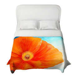 DiaNoche Designs - Poppy Duvet Cover - Lightweight and super soft brushed twill duvet cover sizes twin, queen, king. Cotton poly blend. Ties in each corner to secure insert. Blanket insert or comforter slides comfortably into Duvet cover with zipper closure to hold blanket inside. Blanket not Included. Dye Sublimation printing adheres the ink to the material for long life and durability. Printed top, khaki colored bottom. Machine washable. Product may vary slightly from image.