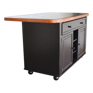 Sunset Trading - Eco-friendly Kitchen Island - Uniquely designed. Adjustable sliding ceramic counter top with three locking positions. Spacious large drawer. Two doors underneath. Adjustable shelf. Three open fixed shelves. Four bun feet at bottom of base. Front side and back side overhang. Massive storage space. Top moves back and forth. Accommodating seating for two people. Warranty: One year. Made from Malaysian oak. Antique black, cherry and gray finish. Made in Thailand. Assembly required. 60.5 in. W x 35 in. D x 33.5 in. H (260.35 lbs.)Enhance the beauty and warmth of your kitchen while extending your work surface, dining and entertaining and storage space with this finely hand crafted Kitchen Island from the Sunset Trading Sunset Selections Collection. Versatile in style this piece complements traditional, country, cottage and just about any other home decor. Perfect for preparing large-scale family meals or serving drinks and appetizers when entertaining guests.