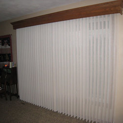 Wood Cornice and fabric wrapped vertical blinds - Lucinda Reed