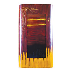 "Couleur - Red Dawn Large Rectangle Glass Wall Art - Handcrafted by artisan glass blowers the Red Dawn Large Rectangle Glass Wall Art is a wonderfully decorative and functional art glass accessory.  Because this is made of hand blown glass measurements are approximate - Each item will vary slightly in size and color.Specifications Dimensions: Are approximate because of the handmade nature of this product. (depth x width x height) Overall: D 4"" x W 20"" x H 36"" (approximately)Made in: Mexico (MEX)  Style: Room: Living Room, Dining Room, OfficeUse: Decoration Only - Home Accent, Table Top Decor, Wall Decor, Shelf DecorIndoor / Outdoor: IndoorCare: Wipe clean with a soft damp cloth."