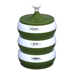 Used Mid-Century Avocado Canister Set - Holy Avocado, Batman! We offer this sweet plastic triple stacker for the snacker in you! A place for your chips, nuts and candy, all in one fell swoop! We adore the avocado color! It is in overall good condition, with a few scuffs here and there, and a small amount loss to the chips sticker. A fun way to add a pop of color to your Mid-Century themed kitchen.