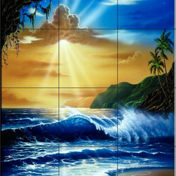 The Tile Mural Store (USA) - Tile Mural - Ocean Paradise - Jw - Kitchen Backsplash Ideas - This beautiful artwork by Jeff Wilkie has been digitally reproduced for tiles and depicts an ocean paradise with waves and a cave  Beach scene tile murals are great as part of your kitchen backsplash tile project or your tub and shower surround bathroom tile project. Waterview images on tiles such as tiles with beach scenes and sunset scenes on tiles.  Tropical tile scenes add a unique element to your tiling project and are a great kitchen backsplash  or bathroom idea. Use one or two of our beach scene tile murals for a wall tile project in any room in your home for your wall tile project.