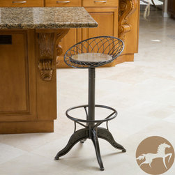 Christopher Knight Home - Christopher Knight Home Grayson Weathered Wood Barstool - Pull up to your bar and enjoy dinner and drink while sitting on this stylish iron/wood bar stool from Christopher Knight. The circular footrest and adjustable seat height make this stool comfortable, and the iron legs keep this piece sturdy.