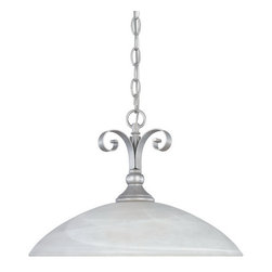 """Designers Fountain - Matte Pewter And Alabaster Glass Chandelier/Pendant - Width: 15.75"""""""