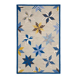 MSR3751A Martha Stewart Rug - 6' Round - A beloved traditional quilt design named for two brothers who settled in Louisiana in 1699, Lemoyne Star is artfully updated for today��_s casual bedrooms and family rooms. Made in India of 100-percent wool, our Lemoyne Star area rug recreates the motif��_s classic eight-point star with large, hand-tufted loops.