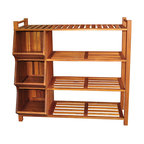 None - Outdoor 4-tier Shoe Rack/ Cubby - Organize your closet or entryway with this wooden shoe organizer. Constructed of acacia hardwood, this piece is weatherproof and designed to be used indoors or outdoors. With its three storage cubbies and a four-tier rack, you can store plenty of shoes.