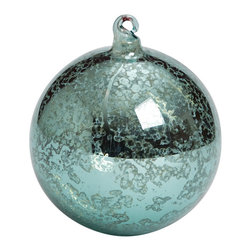 Antiqued Blue Ornament Ball - 4 Inch - When mixed with our Glass Bubble Ornament Balls and Antique Finial Ornaments, these Antiqued Blue Ornament Balls create the perfect balance on a Coastal theme Christmas tree. Whether your backyard is the ocean or you're miles away, a Coastal inspired Christmas tree is sure to bring you extra joy this holiday season.
