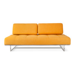 Gus Modern - James Lounge, Laurentian Citrine - ames Lounge by Gus Modern. The James Lounge is the perfect seating solution for anybody with a studio or if you seem to always have guests in for a quick stay. A striking and comfortable sofa by day; the back cushions can be removed to reveal a comfy twin-size bed by night! Its super clean lines and modern proportions make it the perfect focal point for any space, and handy addition you will be glad you made!