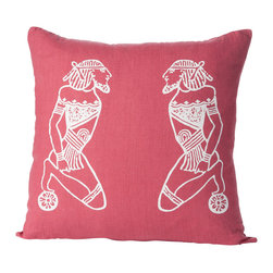Cricket Radio - Alexandria Devotion Pillow, Rose/White - Whether you like Middle Eastern style influences or just want something that's unique, this throw pillow with its ancient Egyptian-inspired design makes an eclectic contemporary decor accessory. Made from sustainable linen and silk-screened by hand with white, ecofriendly ink, this pillow would look great in a room styled with natural materials and colors.