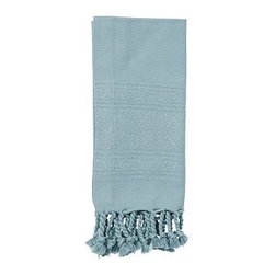 """Diamond Jacquard Twisted Fringe Dinner Napkin, 20"""", Set of 4, Blue Smoke - The diamond Jacquard pattern that frames our cotton napkins adds a soft shimmer to each place setting. 20"""" square Made of pure cotton. Yarn dyed for vibrant, lasting color. Set of 4. Machine wash. Imported."""