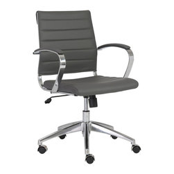 Eurostyle - Eurostyle Axel Low Back Office Chair w/ Arms in Gray & Aluminum - Low Back Office Chair w/ Arms in Gray & Aluminum belongs to Axel Collection by Eurostyle The Eurostyle Axel Low Back Collection, with or without arms, is ideal for any office setting. It features a leatherette seat with the back of the seat over foam, a chromed steel frame with aluminum base and hooded casters that won't scratch hardwood floors. Office Chair (1)