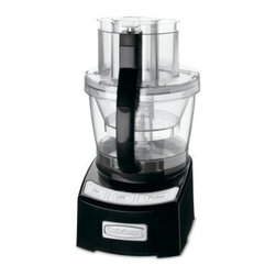 Cuisinart FP-12BK 12 cup Food Processor - Black - Slice, shred, and chop a variety of foods, as well as your prep time, with the Cuisinart FP-12BK 12 cup Food Processor - Black. Its simple design offers a sleek look and an easy-to-use touch pad control system. A powerful 1000-watt motor along with a wide-mouth feed tube, multiple blades, and disk attachments make short work of fruits, veggies, cheese, and dough. An innovative SealTight Advantage System seals the bowls while locking the blades for clean, safe processing and pouring. This processor also comes complete with spatula, recipe/instruction book, and instructional DVD.About CuisinartOne of the most recognized names in cookware and kitchen products, Cuisinart first became popular when introduced to the public by culinary experts Julia Child and James Beard. In 1973, the Cuisinart food processor revolutionized the way we create fine food and healthy dishes, and since that time Cuisinart has continued its path of innovation. Under management by the Conair Corporation since 1989, Cuisinart is a universally celebrated name in kitchens across the globe. With a full-service product line including bakeware, blenders, coffeemakers, cookware, countertop appliances, kitchen tools, and much, much more, Cuisinart products are preferred by chefs and loved by consumers for durability, ease of use, superior quality, and style.