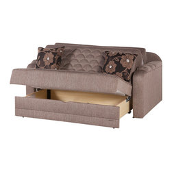 Istikbal - Verona Redeyef Brown Loveseat Sleeper - The softly shaped ripple style and quilting with rounded armrests are amazing elements of this timeless piece. The Verona Redeyef Brown Loveseat Sleeper is a grand traditional beauty with a surprise. The bubbly shape of armrests, scalloped stitchery pattern and extra plush seating makes Verona both sleek and comfortable.