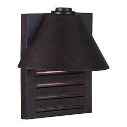 Kenroy Home - Kenroy 10161COP Fairbanks Lrg Lantern Dark Sky - The half-roof of Fairbanks overhangs the backplate for a decidedly modern look.  The protruding rectangles on the metal face of Fairbanks make for interesting shadows and highlights.