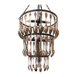 BROCANTE THREE TIER CHANDELIER - BROCANTE THREE TIER CHANDELIER WITH VINTAGE SPOONS AND STEEL FRAME WITH PATINA FINISH