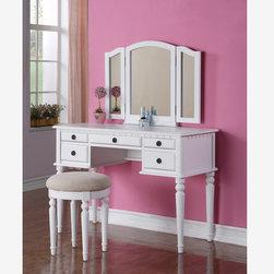Tri-Fold Mirror White Wood Vanity Set Makeup Table Stool F4074 Gift - 2 Pc. White Tri-Mirror 5 Drawer Vanity Set with Round Stool