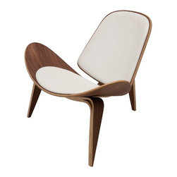 """Nuevo Living - Artemis Modern Lounge Chair by Nuevo Living, White, Leather - The Artemis Lounge Chair by Nuevo Living exemplifies modern style. This comfortable lounger is constructed of bent plywood and veneered in American Walnut. The curvature of this piece is accented by plush cushioning wrapped in your choice of black fabric or black or white leather. This chair measures 30"""" high, 31"""" wide and is 36"""" deep. Its arms are 20.75"""" high and its seat is at 15.5"""". Artemis weighs 28 pounds and will be delivered by freight carrier."""
