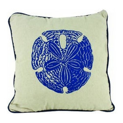 """Handcrafted Model Ships - Sand Dollar Pillows 15"""" - Set of 4 - This charming Sand Dollar Pillow 15"""" combines the atmosphere of the sea and represents sea life with a sand dollar placed prominently in the center of our pillow. This pillow will evoke memories of the waves washing up to the shore. Place this pillow in your home to show guests your affinity for sea life and beach decor."""